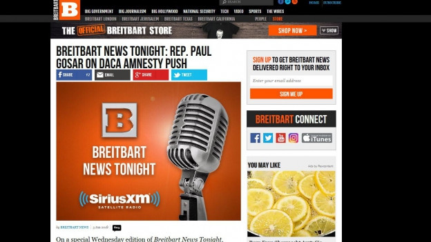 Das umstrittene US-Newsportal breitbart.com.