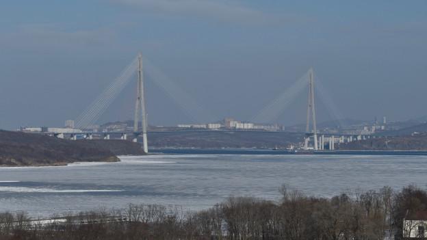 Sicht von der Universität in Russki: Die Autobrücke von Wladiwostok