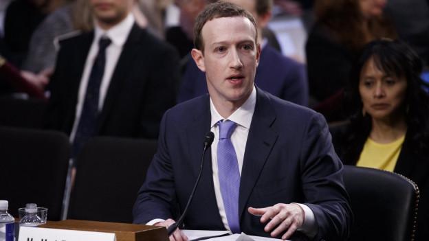 Facebook-Chef Mark Zuckerberg vor dem US-Senat