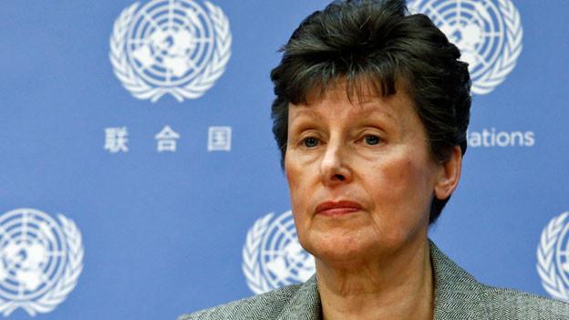 Angela Kane die ehemalige Vertreterin der Vereinten Nationen für Abrüstungsfragen, im Dezember 2013 an einer Pressekonferenz im UN-Hauptquartier in New York.