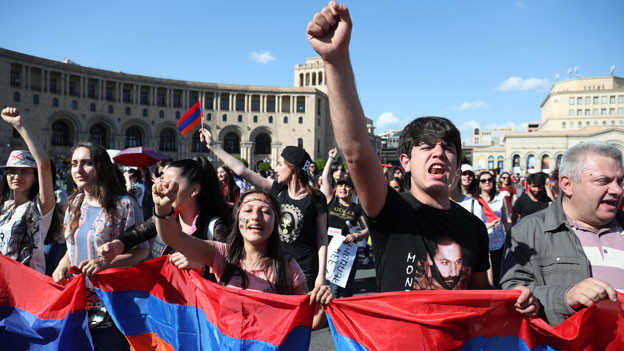 Demonstrationen in Armenien am 2.5.2018.