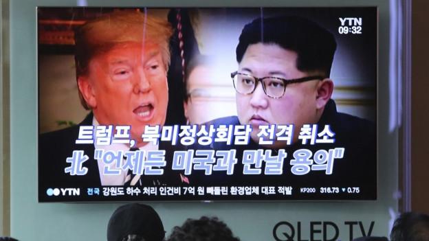 Donald Trump und Kim Jong Un im Bild.