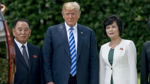 US-Präsident Donald Trump, Kim Yong Cho und Kim Song Hye.