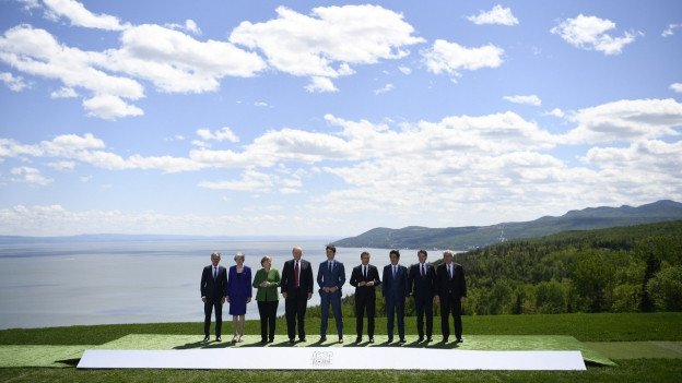 Die Idylle trügt: Zu sehen sind die zentralen Teilnehmer des G7-Gipfels in Kanada.