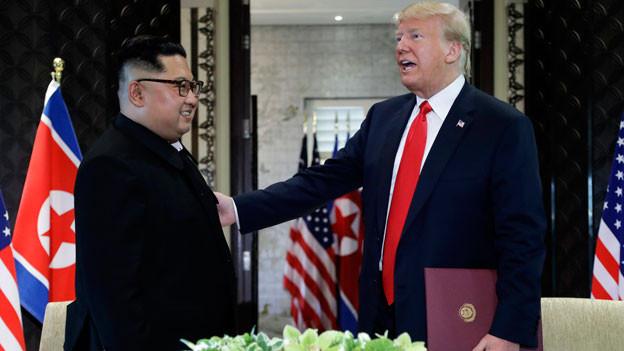 Kim Jong-un, Nordkoreanischer Diktatot (links) und Donald Trump, US-Präsident.