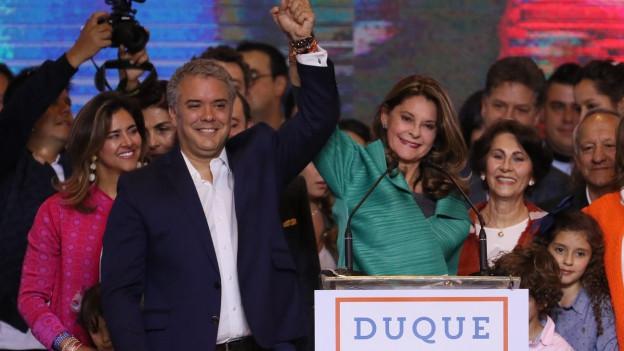 Siegerteam: Der neue kolumbianische Präsident Iván Duque (links) und Vize-Präsidentin Marta Lucía Ramirez.