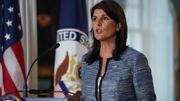 Nikki Haley, UN-Botschafterin der USA, bei der gestrigen Pressekonferenz.