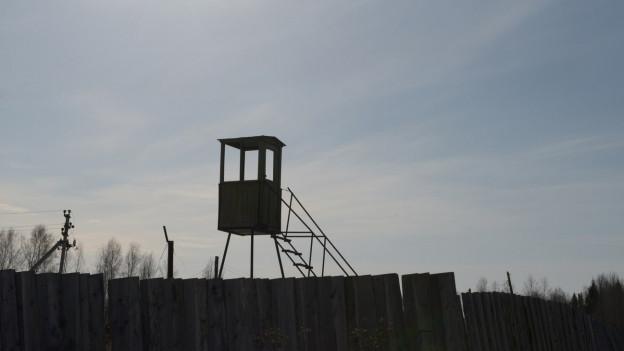 Ein Wachposten eines russischen Arbeitslagers.