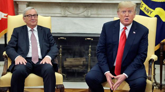 EU-Ratspräsident Jean-Claude Junker (li.) und der US-Präsident Donald Trum in Washington.