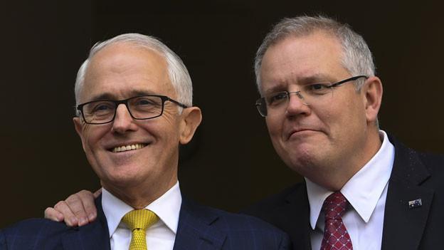 Nachfolger von Premier Malcolm Turnbull (links) wird der bisherige Schatzkanzler Scott Morrison.