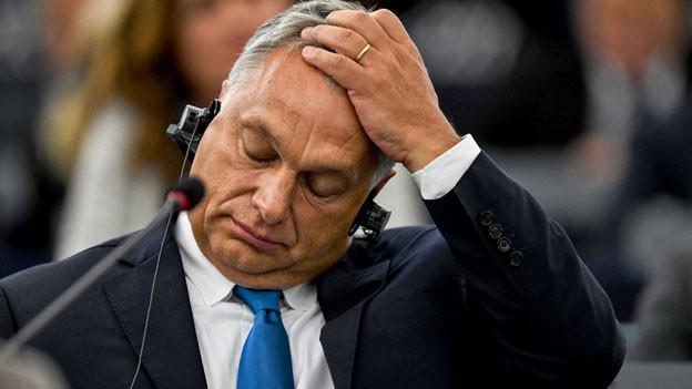 Der ungarische Premierminister Viktor Orban auf der Plenarsitzung im EU-Parlament in Strassburg.