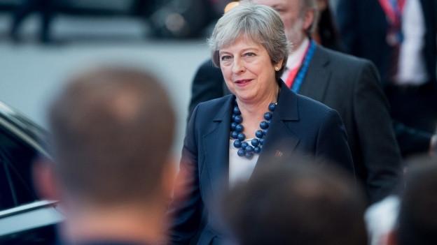 Die britische Premierministerin Theresa May am EU-Gipfel in Salzburg