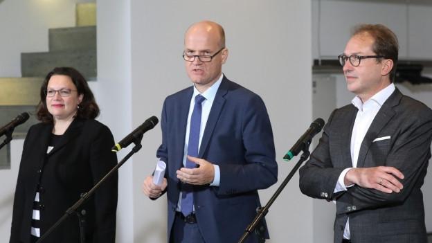 Vertreter der deutschen Koalition geben ein Statement ab zu neuen Massnahmen gegen Diesel-Fahrverbote.