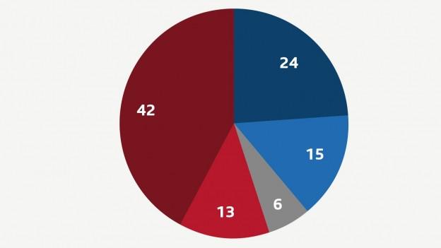 Ein Kuchendiagramm zeigt die Aufteilung der persönlichen Stimmabsichten.