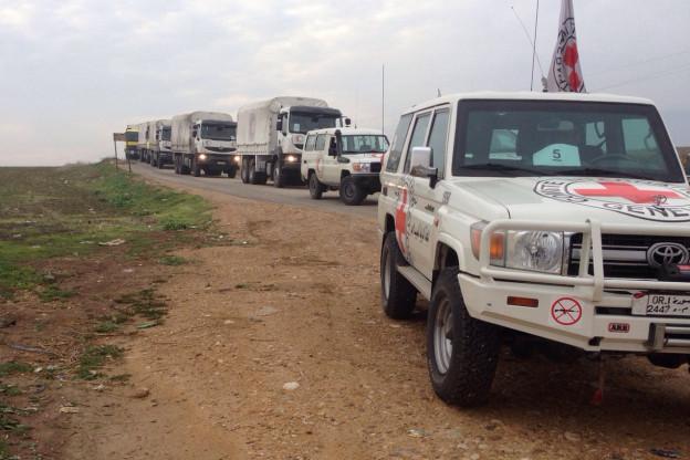 Ein Rotkreuz-Konvoi zwischen Damaskus und Madaya in Syrien im Januar 2016.