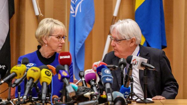 Die schwedische Aussenministerin Margot Wallström und der UN-Gesandte Martin Griffiths an den Jemen-Friedensgesprächen in Rimbo, Schweden.