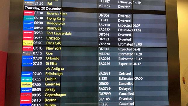 Ankunftstafel am Flughafen Gatwick Airport: abgebrochene, annullierte und verspätete Flüge nachdem am Donnerstagmorgen Drohnen entdeckt wurden.