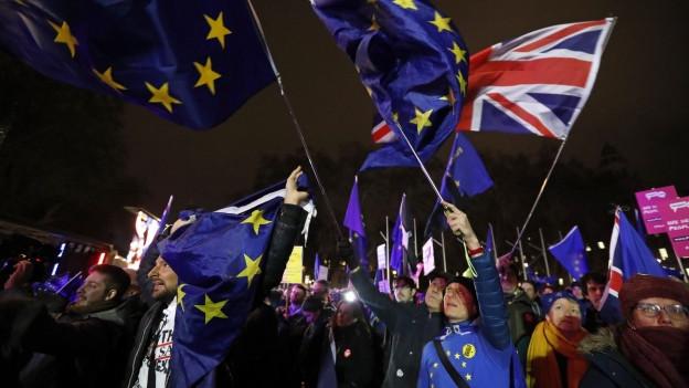 Demonstranten schwingen EU- und Grossbritannienflaggen.