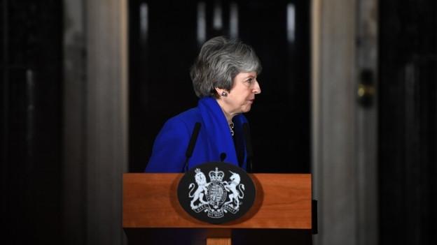 Die britische Premierministerin Theresa May nachdem sie den Misstrauensantrag überstanden hat.