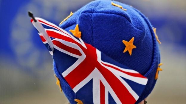 Ein Demonstrant mit einer EU-Mütze und der britischen Flagge.