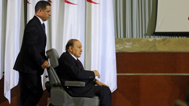 Präsident Abdelaziz Bouteflika im April 2014 bei seiner Vereidigung. Sein letzter öffentlicher Termin.
