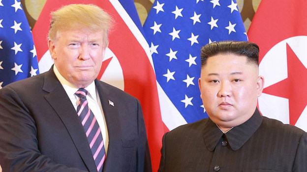 US-Präsident Donald Trump und der nordkoreanische Machthaber Kim Jong Un am Gipfeltreffen in Hanoi.