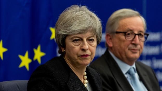 Die britische Premierministerin Theresa May und EU-Komissionspräsident Jean-Claude Juncker