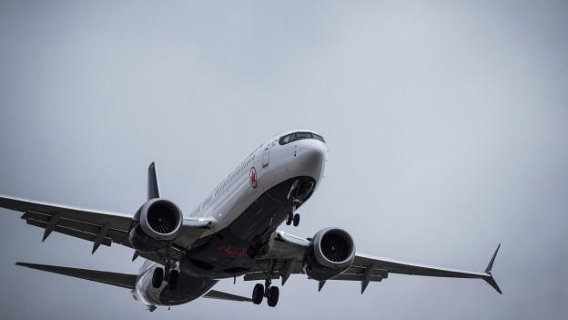 Das Bild zeigt ein Flugzeug des Modells Boeing 737-Max-8 in der Luft.