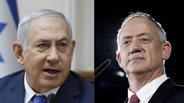 Das Bild zeigt Israels Premierminister Benjamin Netanjahu und dessen Herausforderer bei den Wahlen 2019, Benny Gantz.