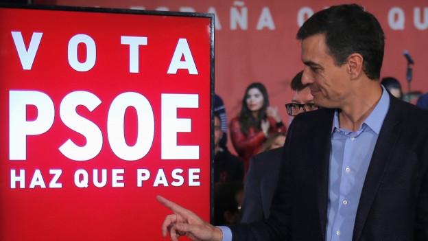 Pedro Sanchez anlässlich des Wahlkampfauftakts.