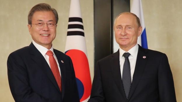 Moon Jae-in und Wladimir Putin.