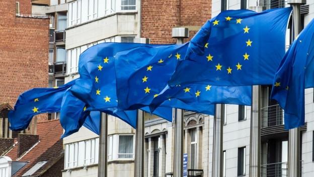 Europäische Flaggen.
