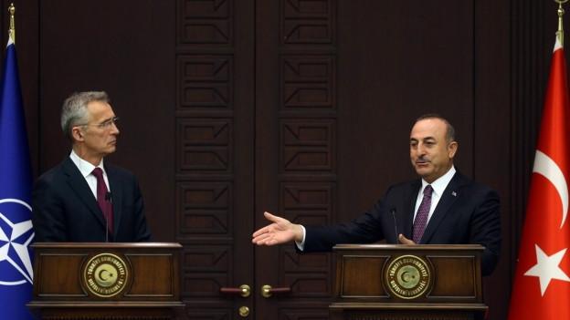 NATO-Generalsekretär Stoltenberg und der türkische Aussenminister Çavu?o?lu mit Flaggen.