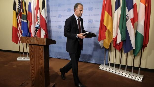 Der amerikanische UN-Botschafter nach seiner Pressekonferenz zum Thema Iran am 24. Juni 2019.