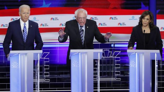 Drei Kandidaten der Demokraten: Joe Biden, Bernie Sanders und Kamala Harris
