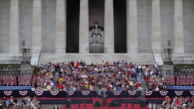 Eine Ansicht auf die Bühne vor dem Lincoln Memorial, wo US-Präsident Donald Trump seine Rede hielt.