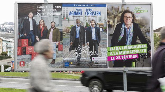 SP-Exekutivmitglied Lionel Girardin ist suspendiert; Michel Agnant und Jérôme Christen von der Mitte-Bewegung «Vevey Libre» beurlaubt. Bild. Wahlplakat vom Februar 2016.