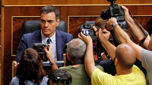 Der amtierende spanische Ministerpräsident Pedro Sánchez im spanischen Parlament.