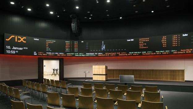Der Blick ins Kongresszentrum der Schweizer Börse SIX.