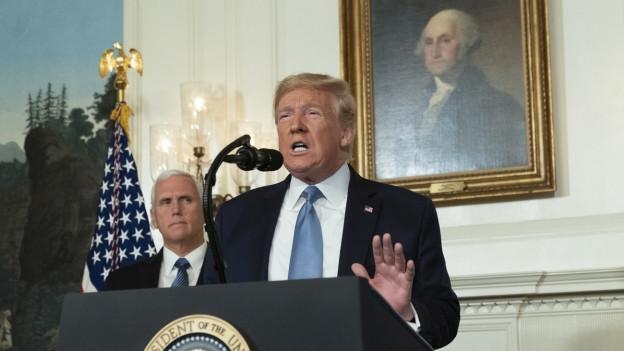 Donald Trump bei seiner Rede im weissen Haus am 5.8.2019.