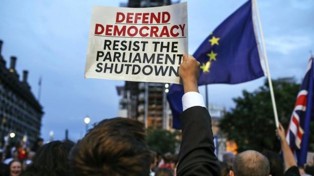 Auf dem Bild sind Demonstranten in London zu sehen.