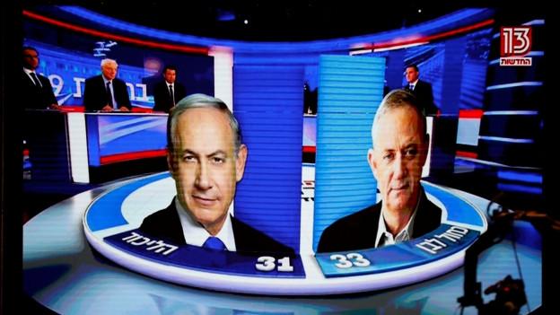 Eine Fernsehgrafik zum Stand der Stimmauszählungen.