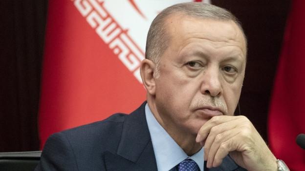 Das Bild zeigt den türkischen Präsidenten Erdogan bei einem Treffen mit den Staatschefs von Russland und Iran zur Zukunft Syriens.