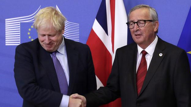 Grossbritanniens Premier Boris Johnson (links) und EU-Kommissionspräsident Jean-Claude Juncker am 17.10.2019 in Brüssel.