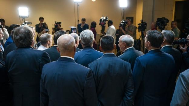 Vertreter der Republikaner auf einer Pressekonferenz nach dem Zwischenfall im Kongress.