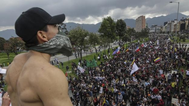 Ein Demonstrant steht mit dem Rücken zur Kamera, im Bildhintergrund steht eine grosse Menschenmenge auf einem Platz.