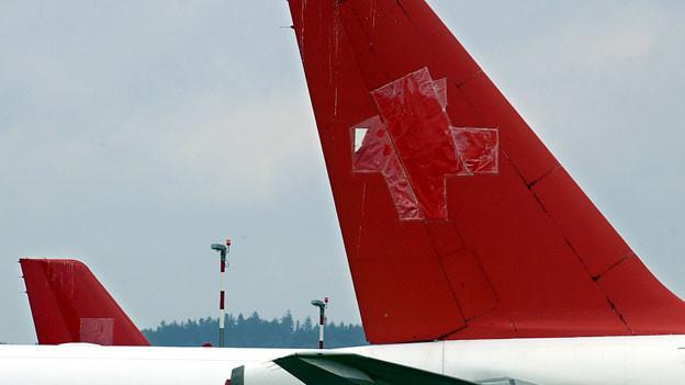 Ein Swissair-Flugzeug ohne Schweizer Kreuz.
