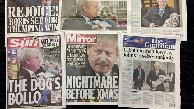 Britische Zeitungen am Freitag, den 13. Dezember 2019, die alle über den Wahlsieg von Premierminister Boris Johnson schreiben.