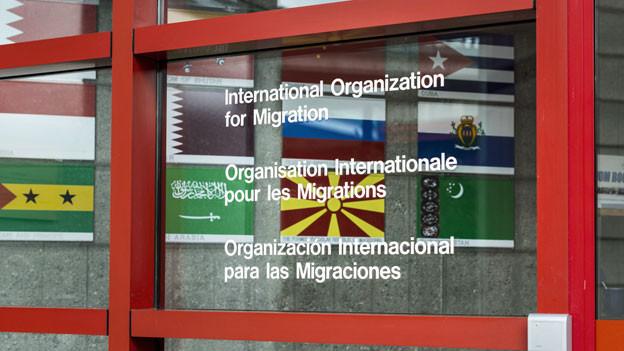 Eingang zum Internationalen Büro für Migration (IOM) in Genf.