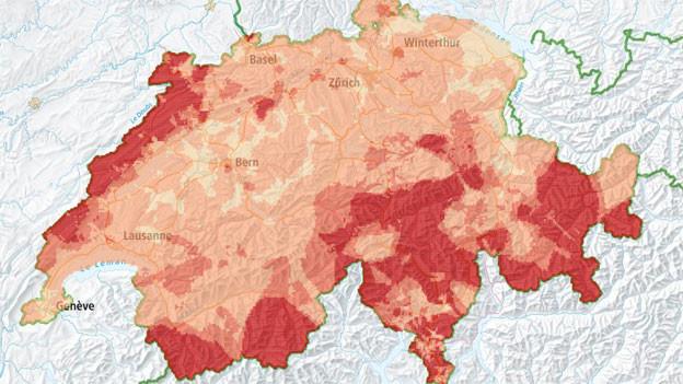 Radonkarte der Schweiz des BAG Bundesamt für Gesundheit.